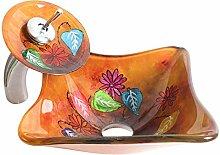 HomeLava Schönes Glas Waschbecken Set Eckig mit