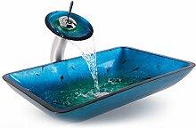 Homelava Waschbecken aus Sekuritglas und Wasserfall Wasserhahn Blau Rechteckig