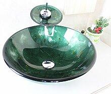 HomeLava Waschbecken Dunkelgrün Rund Glas Aufsatz