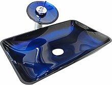 Homelavafans Modern Blau Gehärtetes Glas