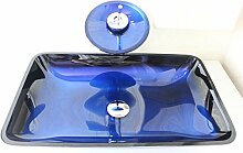 Homelavafans Modern Blau Gehärtetes Glas Waschbecken Set Eckig mit Wasserfall Wasserhahn und Ablaufgarnitur und Montagering