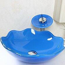 Homelavafans Modern Blau Welle Rund Glas Waschbecken mit Wasserfall Armatur Se