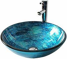 Homelavafans Modern Design Gehärtetes Glas Waschbecken Rund Blau mit Ablaufgarnitur, Montagering