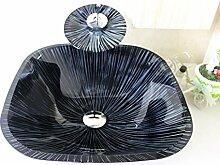 Homelavafans Modern Eckig Gehärtetes Glas Waschbecken Set mit Wasserfall Wasserhahn und Ablaufgarnitur und Montagering