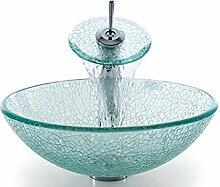 Homelavafans Modern Glas Rund Waschbecken mit Wasserablauf und Einhebel Armatur und Montage Ring