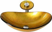 Homelavafans Modern Gold Oval Gehärtetes Glas