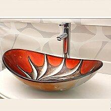Homelavafans Modern Oval Gehärtetes Glas Einzel Waschbecken mit Ablaufgarnitur, Montagering