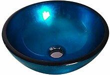 Homelavafans Modern Rund Blau Gehärtetes Glas