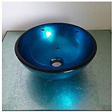 Homelavafans Modern Rund Blau Gehärtetes Glas Einzel Waschbecken Mini für Gäste WC