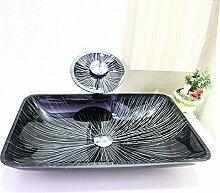 Homelavafans Modern Waschbecken Glas Eckig Aufsatz