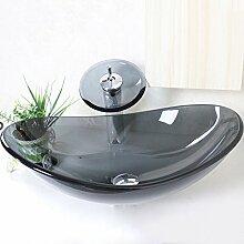 Homelavafans Modern Waschbecken Oval Grau Transparent Glas mit Wasserfall Armatur Se