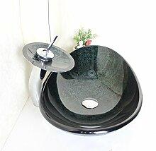 Homelavafans Modern Waschbecken Set Gehärtetes Glas Oval mit Wasserfall Wasserhahn, Ablaufgarnitur und Montagering