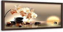 HomeLiving Bild mit Rahmen Kerzen und Steine