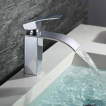 Homelody Bad Waschbecken Armatur Chrom Wasserfall