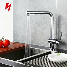 Homelody Chrom Niederdruckarmatur ausziehbar Küchenarmatur Wasserhahn küche Niederdruck Armatur Spültisch Spültischarmatur Mischbatterie Einhebelmischer für Küche