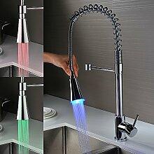 Homelody LED RGB 360° Schwenkbar Wasserhahn Küchenarmatur Ausziehbar Armatur Spüle Spültischarmatur Küche Mischbatterie Spiralfederarmatur Spülbecken