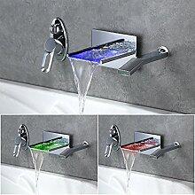 Homelody LED RGB LED Wasserfall Wasserhahn Badarmatur Badwanne Bad Waschbeckenarmatur Mischbatterie für Badzimmer