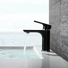 Homelody schwarz Wasserhahn Badarmatur Waschtischmischer Waschtischarmatur Einhebelmischer Mischbatterie Waschbecken Armatur für Bad