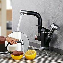 Homelody Schwarz Wasserhahn Brause 2 Funktion Armatur Küche Küchenarmatur mit herausziehbarem Spültischarmatur Mischbatterie Spüle Spülbeckenarmatur