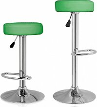Homelux Barhocker Barstuhl 2er-Set Küchenhocker Lounge Hocker Stuhl mit Kunst-PU-Leder bezogen verchromter Fuß stufenlos höhenverstellbar Grün