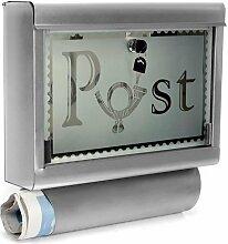 Homelux Briefkasten MBS040 Edelstahl ca. 38x40x10cm mit Zeitungsfach und Glasfron