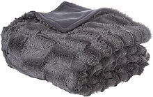 Homemaison Plaid Felldecke, Polyester, anthrazit,