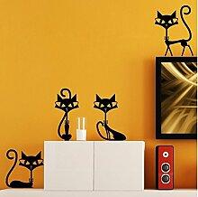 homemay PVC Wandtattoo Aufkleber Cute Cat Familie von vier Kinderzimmer Wohnzimmer Schlafzimmer TV Hintergrund Home Dekoration wiederablösbar wallwallpaper65cm x 30cm, violett, 65 cm x 30 cm