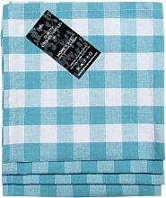 Homescapes–Vier–Block Check Servietten–Blau Weiß kariert–100% Baumwolle–45,7x 45,7cm (45x 45cm) Easy Care Tisch Hand geflochten Servietten–waschbar bei 60°cá
