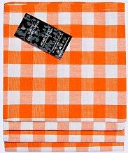 Homescapes–Vier–Block Check Servietten–Orange Weiß kariert–100% Baumwolle–45,7x 45,7cm (45x 45cm) Easy Care Tisch Hand geflochten Servietten–waschbar bei 60°cá