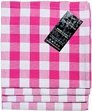 Homescapes–Vier–Block Check Servietten–Pink Weiß kariert–100% Baumwolle–45,7x 45,7cm (45x 45cm) Easy Care Tisch Hand geflochten Servietten–waschbar bei 60°cá