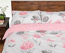 Homescapes Bettbezug mit pinkem Blumenmuster,