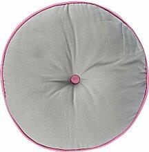 Homescapes Bodenkissen rund grau und rosa 100%