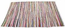 Homescapes Chindi Flickenteppich Läufer 120 x 180 cm Bunt aus 100% Recycelter Baumwolle - Fleckerlteppich Bun