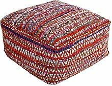 Homescapes Chindi Sitzwürfel Fußhocker quadratisch Ethno Look bunt 60 x 60 x 30 cm