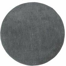 Homescapes Dekorativer Kurzflor Teppich rund grau