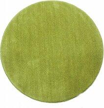 Homescapes Dekorativer Kurzflor Teppich rund grün