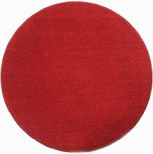 Homescapes Dekorativer Kurzflor Teppich rund rot -