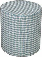 Homescapes Design Sitzhocker Fußhocker rund Karomuster Gingham Bauernkaro blaugrün weiß