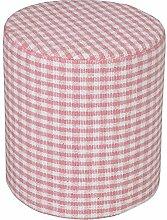 Homescapes Design Sitzhocker Fußhocker rund Karomuster Gingham Bauernkaro rosa weiß