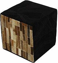 Homescapes Designer Sitzwürfel Fußhocker braun schwarz Patchwork Velours Lederhocker mit echten Ziegenfell Flicken