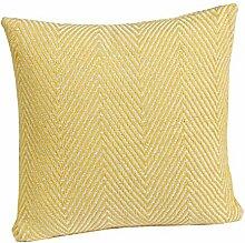 Homescapes gelbe Zierkissenhülle mit Chevron- / Fischgrätenmuster, 100% Baumwolle, Halden, 60 cm x 60 cm