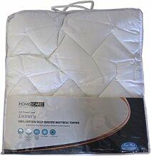 Homescapes Gesteppte Baumwoll Matratzenauflage ca. 150 x 200 cm, weich und kuschelig, wärmendes Unterbett Matratzenschoner aus 100% Baumwolle, Matratzen Topper