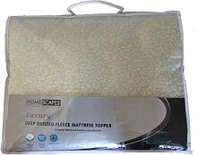 Homescapes Gesteppte Fleece Matratzenauflage ca. 180 x 200 cm, weich und kuschelig, wärmendes Unterbett Matratzenschoner aus 100% Polyester, Matratzen Topper