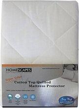 Homescapes gesteppter Matratzenschoner 150 x 200 cm mit Rundumgummi Baumwolle Polyester Mischgewebe