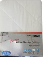 Homescapes Gesteppter Matratzenschoner ca. 180 x 200 cm, preiswert und zuverlässig, Spannbezug Matratzenschonbezug aus 50% Baumwolle und 50% Polyester, Schonbezug Matratze