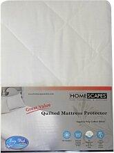 Homescapes Gesteppter Matratzenschutz, kleine Doppelbettgröße, Polycotton, 25cm tief, antiallergen, Bettwäscheschutz, 120x 190cm