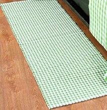 Homescapes Gingham Karo Teppich Vorleger Läufer, 66 x 200 cm, 100 % reine Baumwolle, grün und weiß