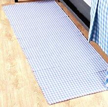 Homescapes Gingham Karo Teppich Vorleger Läufer, 66 x 200 cm, 100 % reine Baumwolle, blaugrün und weiß