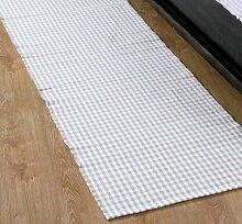 Homescapes Gingham Karo Teppich Vorleger Läufer, 66 x 200 cm, 100 % reine Baumwolle, beige und weiß