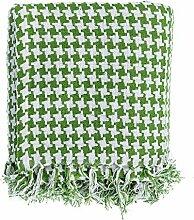Homescapes Handgewobene Tagesdecke grün weiß